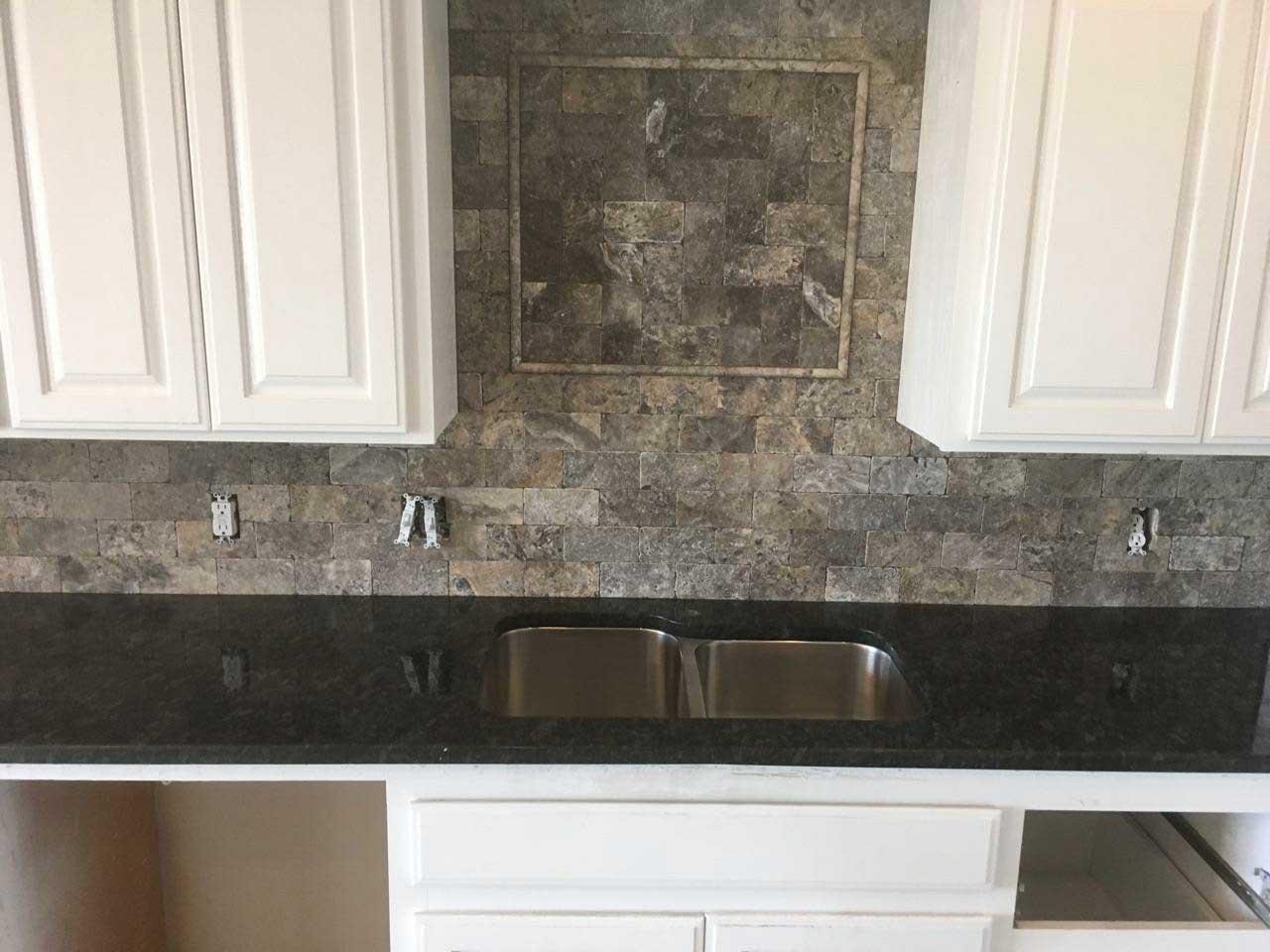 Oklahoma granite kitchen white cabinets Dark Granite travertine backsplash